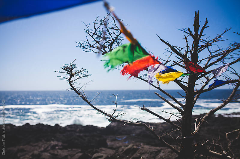 Prayer Flags Blowing in the Wind Overlooking The Coast by Christian Tisdale for Stocksy United