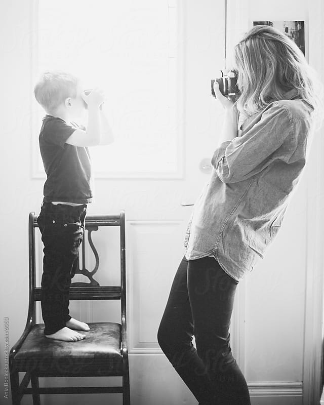 Mother and son picture time by Ania Boniecka for Stocksy United