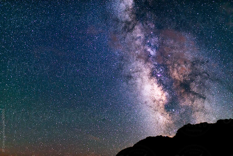 Milky Way Galaxy Night Sky Stars New Mexico Desert Bisti De-Na-Zin Wilderness Area by JP Danko for Stocksy United