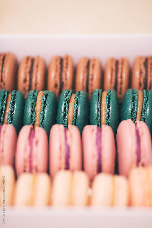 French macaroons in a takeaway box by Jovana Rikalo for Stocksy United