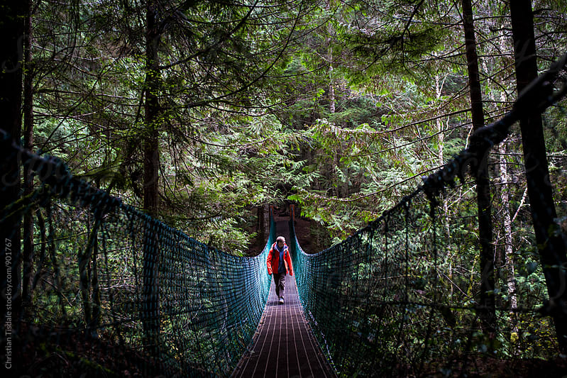 Man in orange jacket crossing a hanging bridge in the rainforest by Christian Tisdale for Stocksy United
