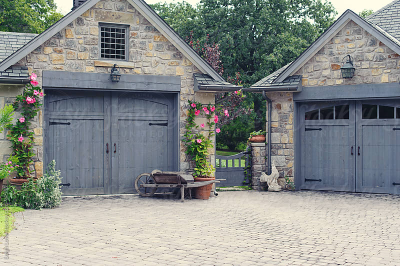 English cottage garage doors with gate between by leigh for Garage cottage
