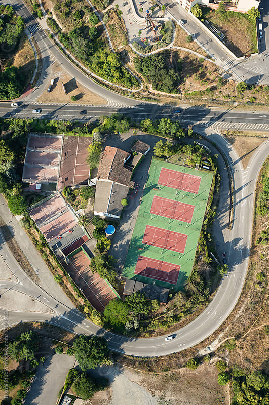 Aerial view of a tennis court in Spain by Bisual Studio for Stocksy United
