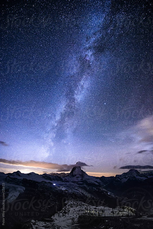 Nightscape with milky way and Matterhorn from Gornergrat, Zermatt by Peter Wey for Stocksy United