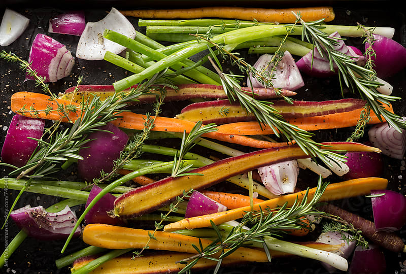 Raw Vegetables Ready to Roast by Jeff Wasserman for Stocksy United