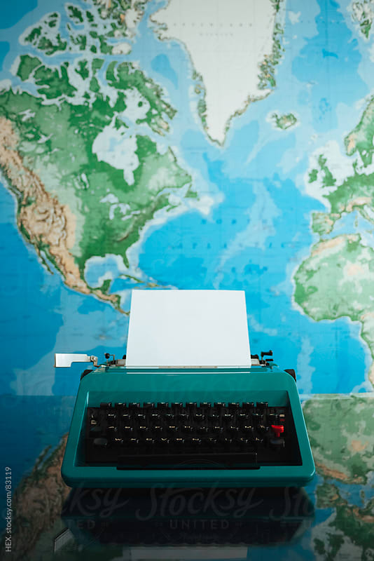 Typewriter with Worldmap by HEX. for Stocksy United