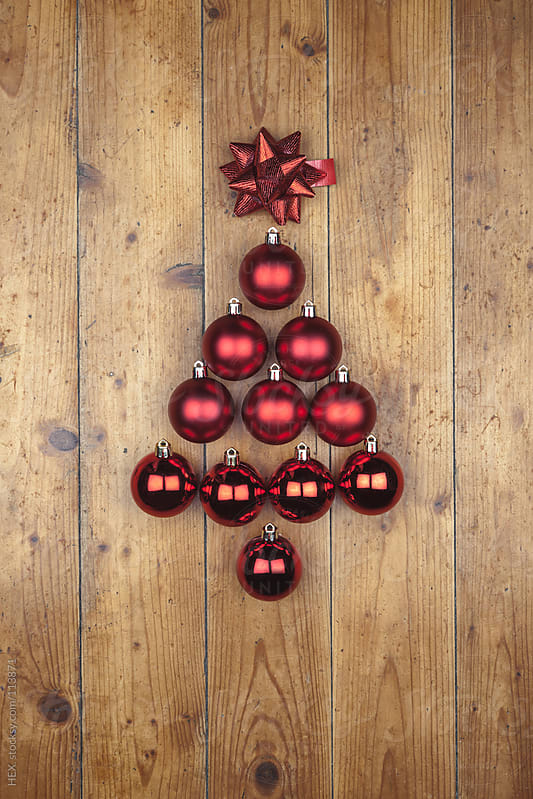 Pine Shape with Christmas Balls by HEX. for Stocksy United