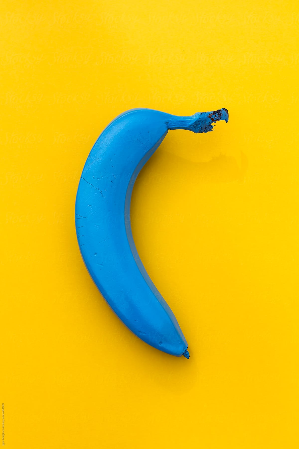 blue banana on a yellow background the contrast stocksy united. Black Bedroom Furniture Sets. Home Design Ideas