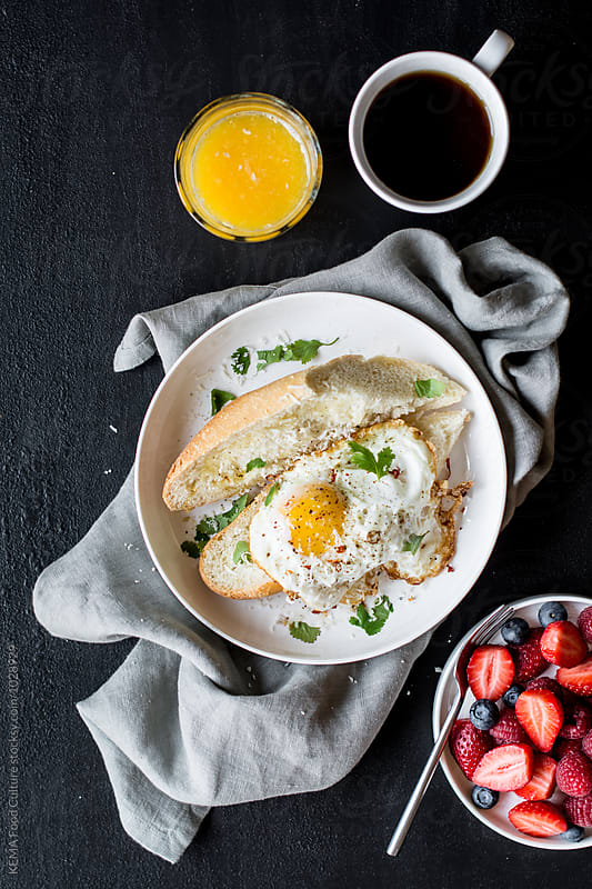 Fried egg sandwich for breakfast by KEMA Food Culture for Stocksy United