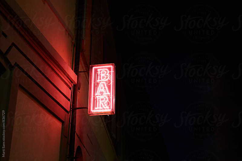 Illuminated signboard 'bar' by Martí Sans for Stocksy United