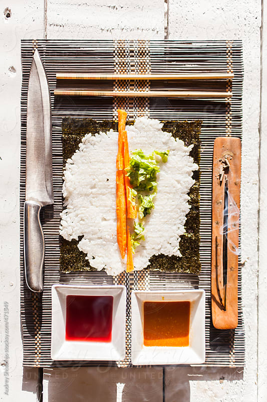 Sushi ingedients well arranged. by Audrey Shtecinjo for Stocksy United