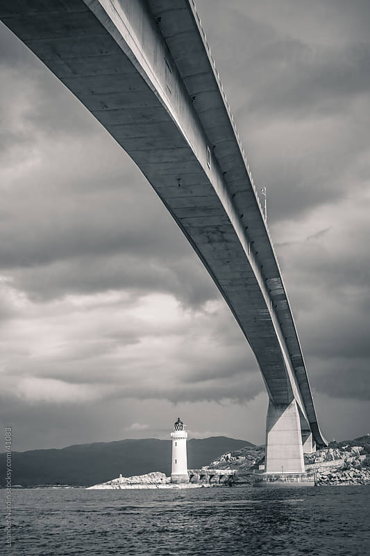Skye Bridge black and white by Leander Nardin for Stocksy United