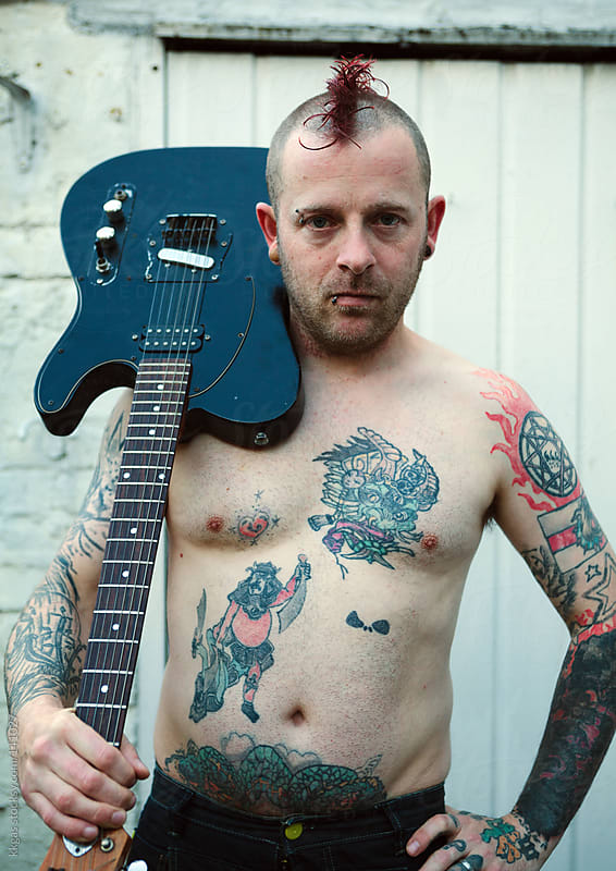 Punk with a guitar  by kkgas for Stocksy United