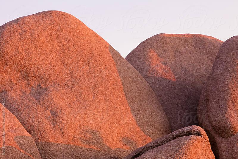 Detail of sculpted granite rock formations at dawn, Joshua Tree NP, CA