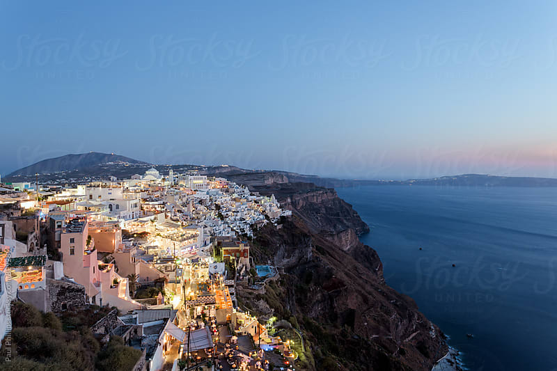 Night over Thera the capital of the Greek island of Santorini. by Paul Phillips for Stocksy United