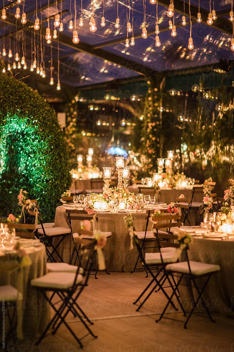 A Candlelit Elegant Italian Wedding Reception In A Clear Marquee