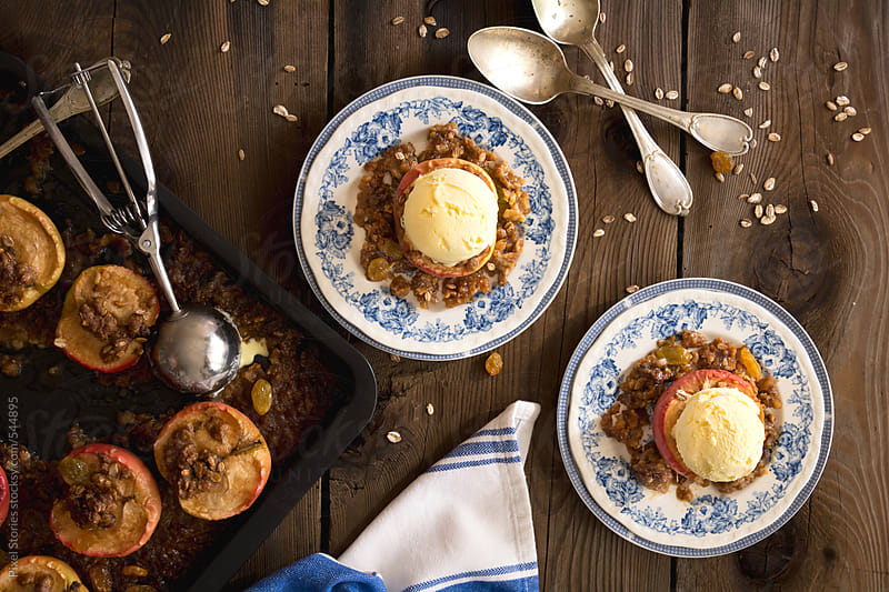 Food: baked apples with crispy oatmeal by Pixel Stories for Stocksy United
