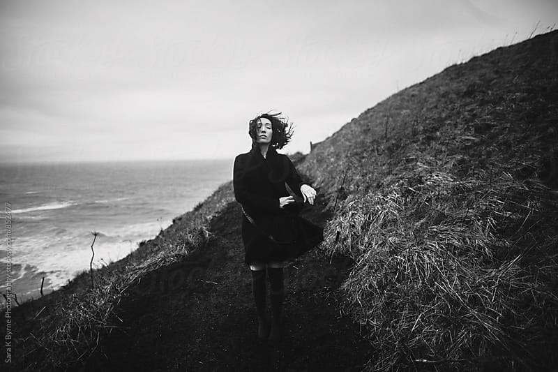 Girl in wind by Sara K Byrne Photography for Stocksy United