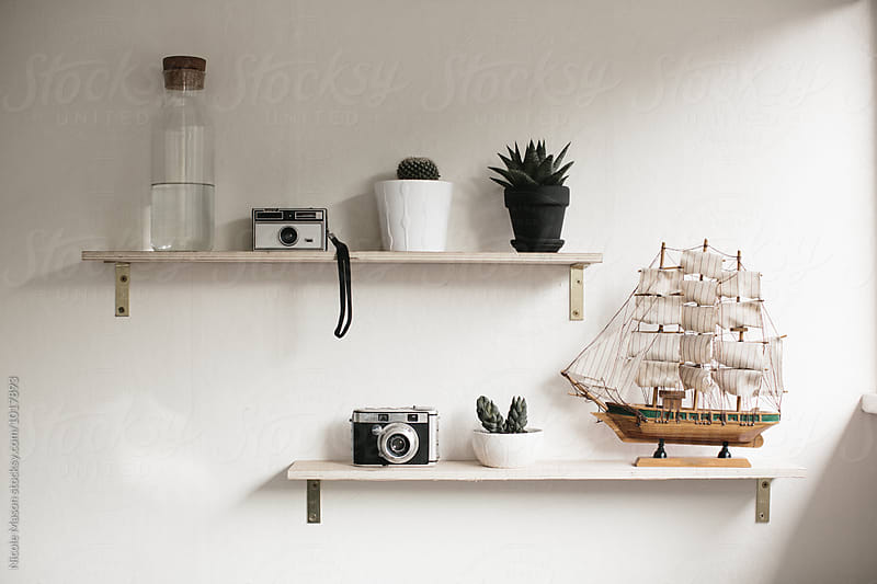 shelves in bright sun room with plants and model ship by Nicole Mason for Stocksy United