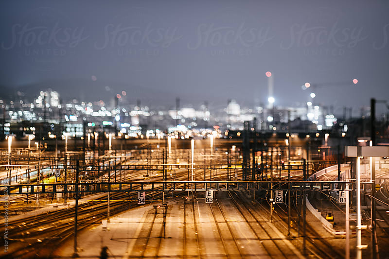 Tilt shift view of train tracks at Zürich by Peter Wey for Stocksy United