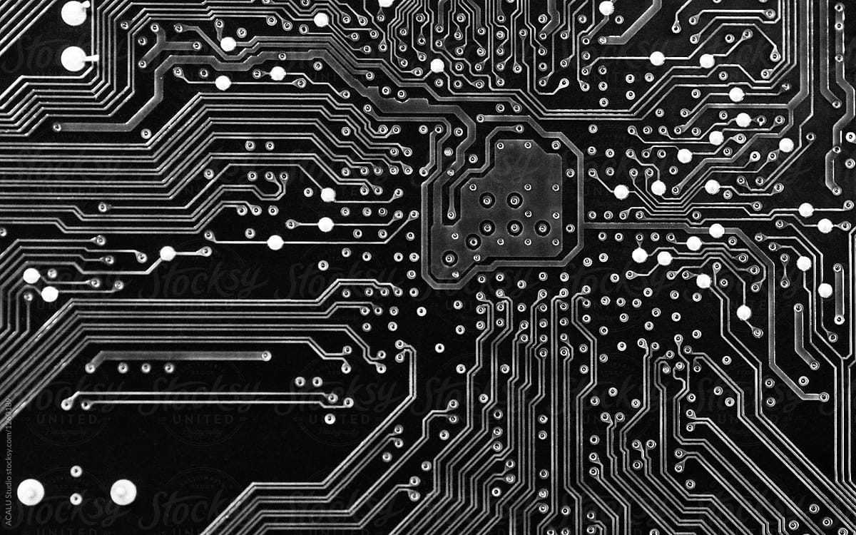 black and white printed circuit board background stocksy united