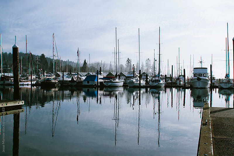 Boats in the harbor by Jesse Morrow for Stocksy United