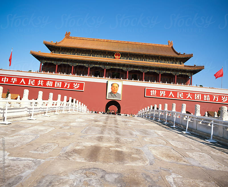 Gate of Heavenly Peace (Tiananmen),  with Chairman Mao Tsedong's portrait hanging above the doorway, Tiananmen Square, Beijing, China, Asia by Gavin Hellier for Stocksy United