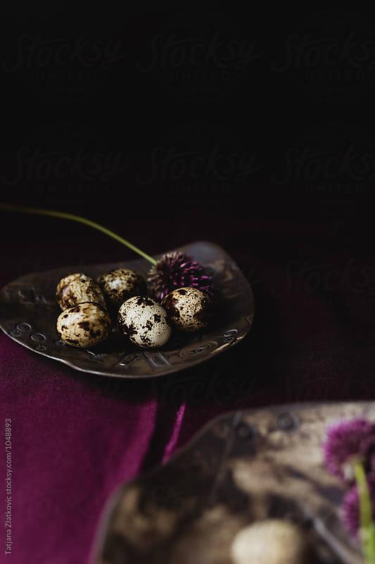 Quail eggs with flowers by Tatjana Zlatkovic for Stocksy United