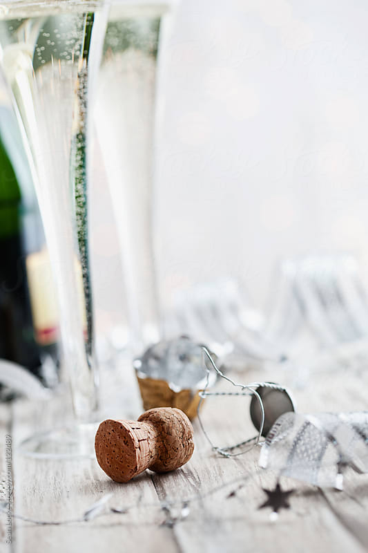 Holidays: Focus on Champagne Cork With Copyspace at Top by Sean Locke for Stocksy United