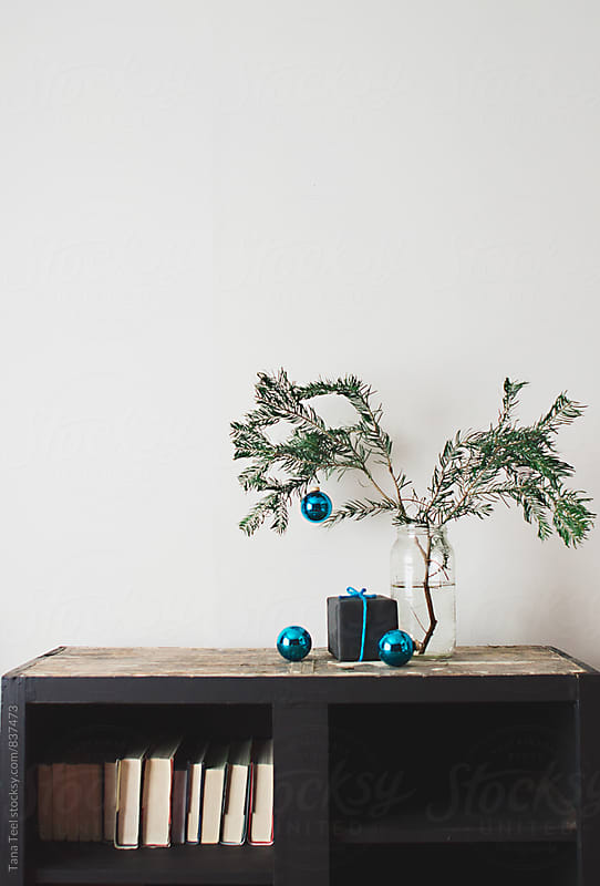 simple pine branch in jar with ornaments decorate shelf by Tana Teel for Stocksy United