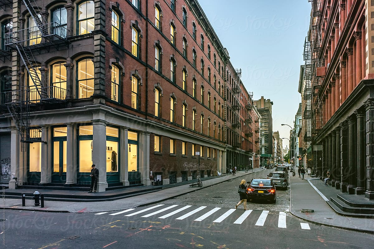 Street View Of Soho Fashion District Of New York City At Sunset
