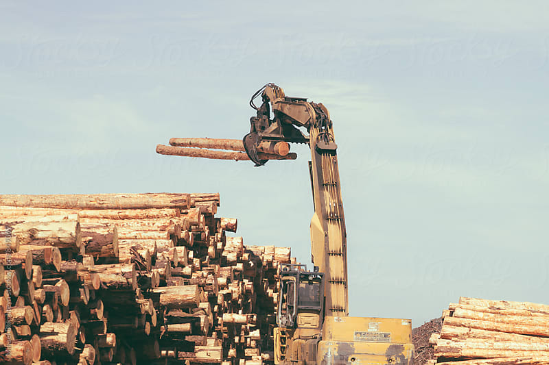 Timber log grabber carrying tree logs by Mihael Blikshteyn for Stocksy United