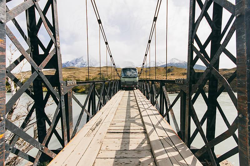 Bus fit tight on a bridge in Patagonia by Alejandro Moreno de Carlos for Stocksy United