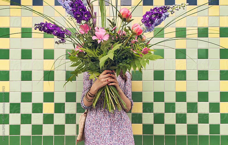 Woman With Flower Bouquet by Julien L. Balmer for Stocksy United
