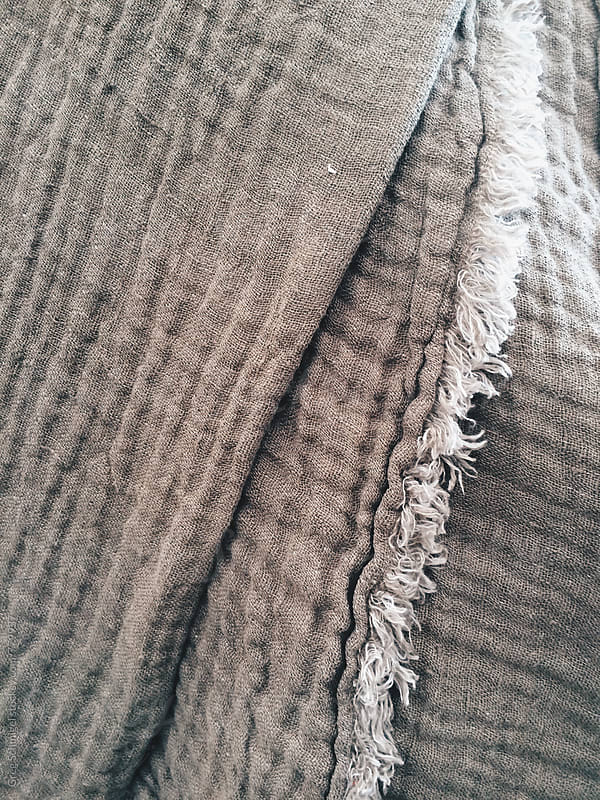 Cotton and linen cloth woven textile texture close up by Greg Schmigel for Stocksy United