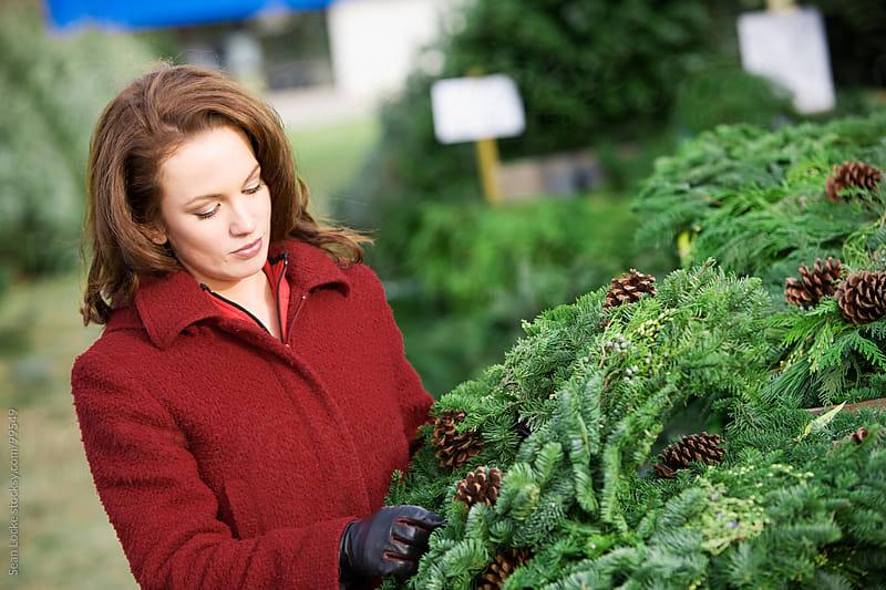 Tree Lot: Woman Choosing Evergreen Christmas Wreath by Sean Locke for Stocksy United