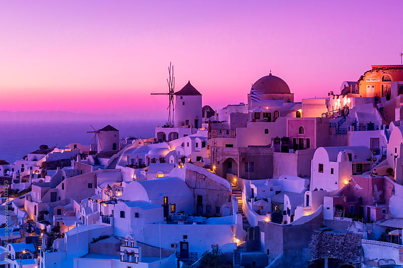 Oia, Santorini just after sunset by Paul Phillips for Stocksy United