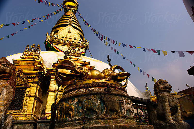 The great stupa in Katmandu, Nepal.  Swayambhunath temple complex by Gabriel Diaz for Stocksy United