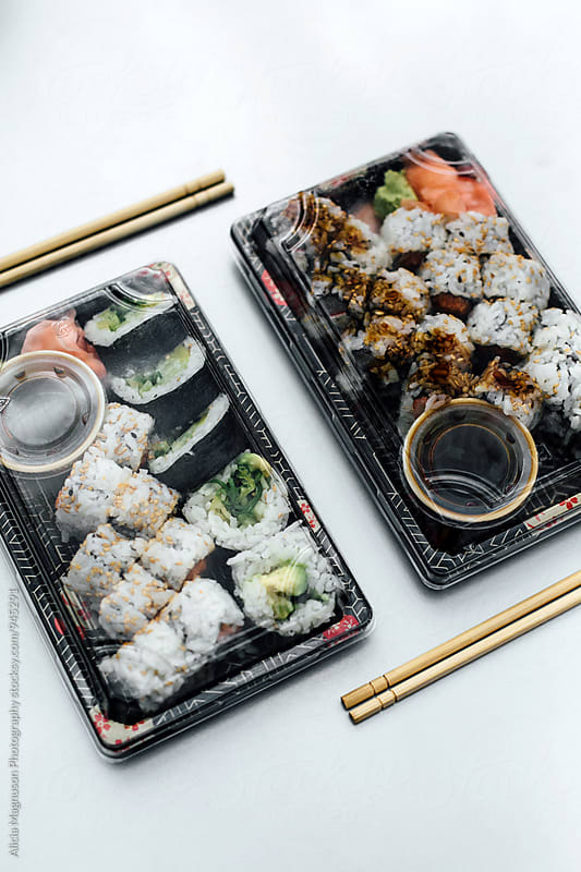 Sushi Takeout Lunch by Alicia Magnuson Photography for Stocksy United