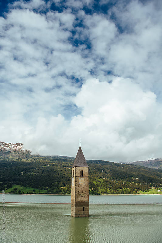Submerged church tower by Peter Wey for Stocksy United