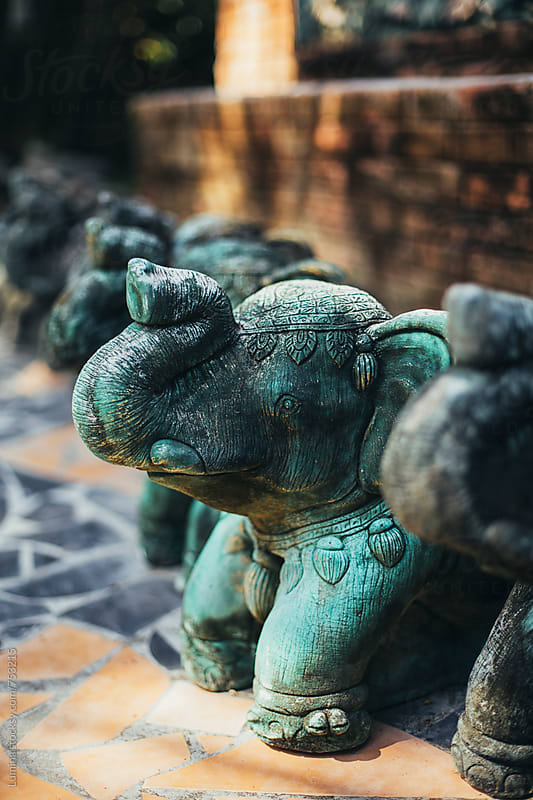 Oriental Elephant Statues by Lumina for Stocksy United