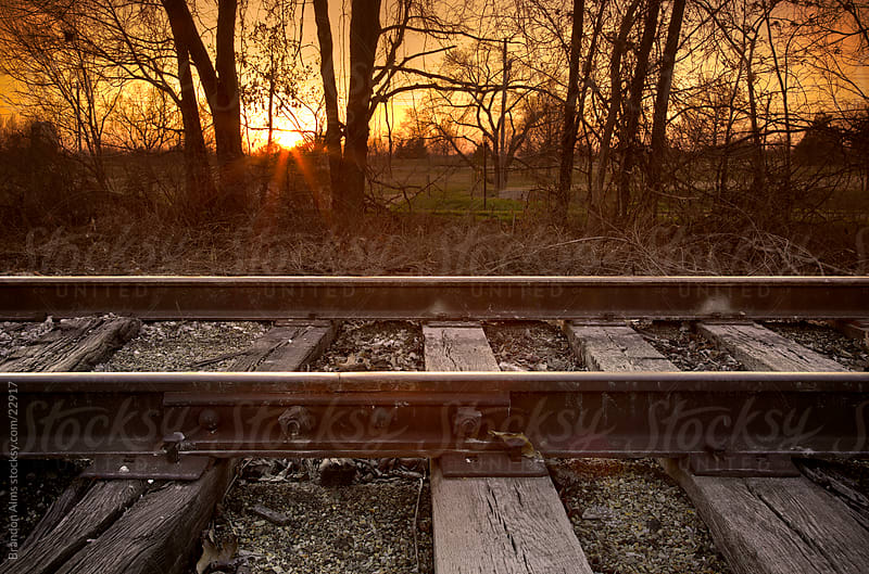 Railway Landscape at Sunset by Brandon Alms for Stocksy United