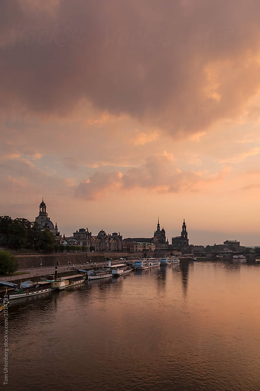 Dresden, Germany - City Skyline and the River Elbe at Twilight  by Tom Uhlenberg for Stocksy United