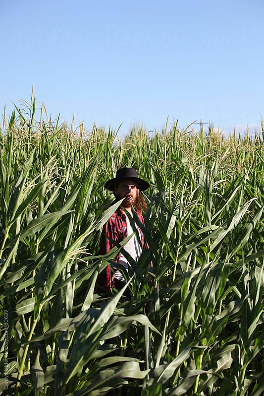 Halloween Farmer In A Corn Field by Carey Haider for Stocksy United