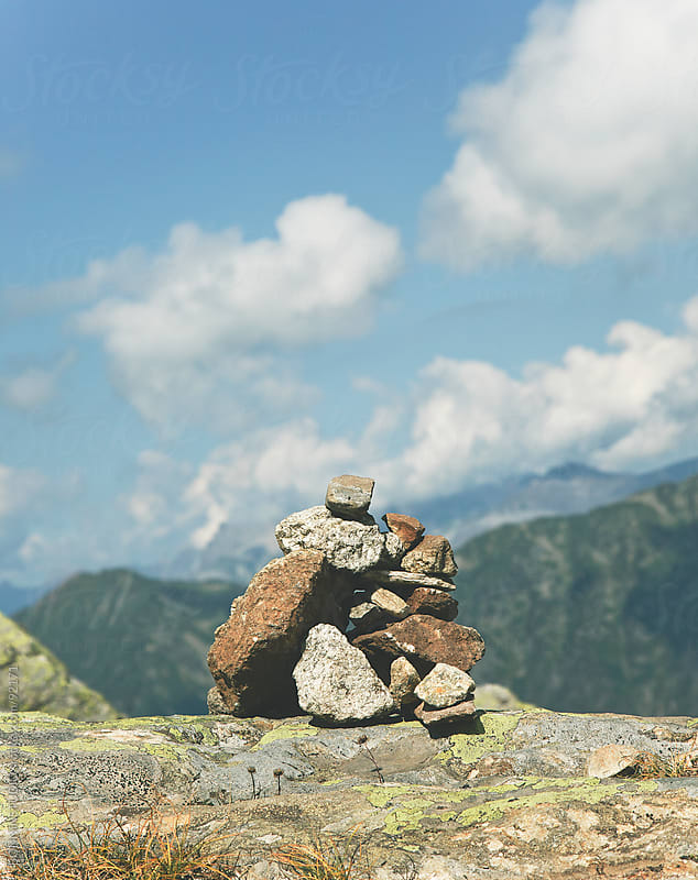 Rocks stack on alps landscape. by BONNINSTUDIO for Stocksy United