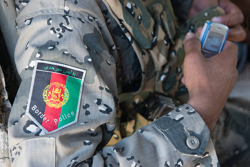 Afghan border police patch on uniform by Mick Follari for Stocksy United