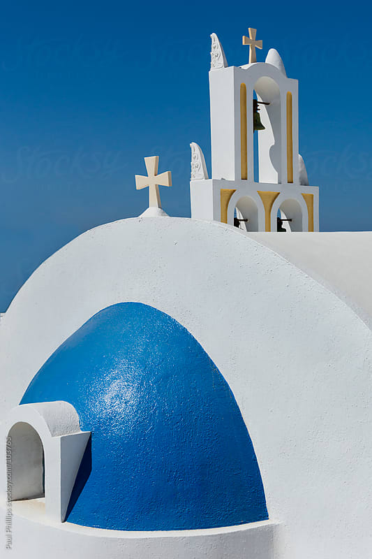 Detail of a vibrant church on the Greek island of Santorini by Paul Phillips for Stocksy United