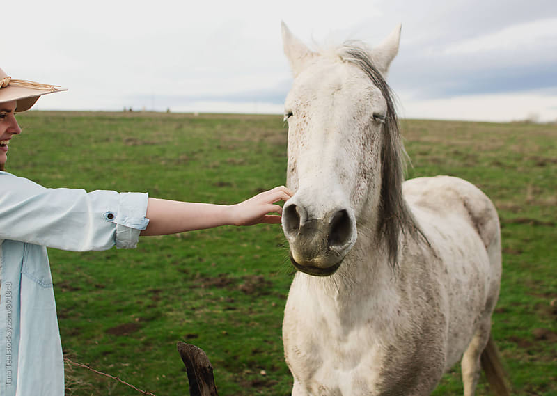young woman reaches out to pet horse by Tana Teel for Stocksy United