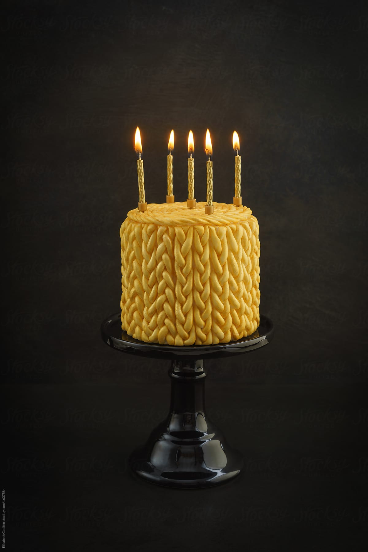 Pleasant Golden Birthday Cake With Knitted Pattern Made Of Fondant And Ca Personalised Birthday Cards Veneteletsinfo