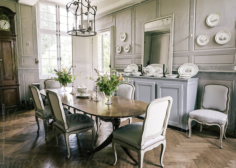 Dining Room In Elegant French Country Home by Raymond Forbes LLC for Stocksy United